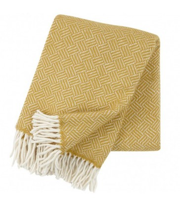 Yellow woollen throw. Graphic linear pattern