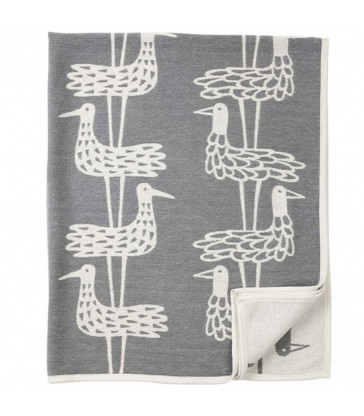 Grey Graphic Bird Cotton Blanket