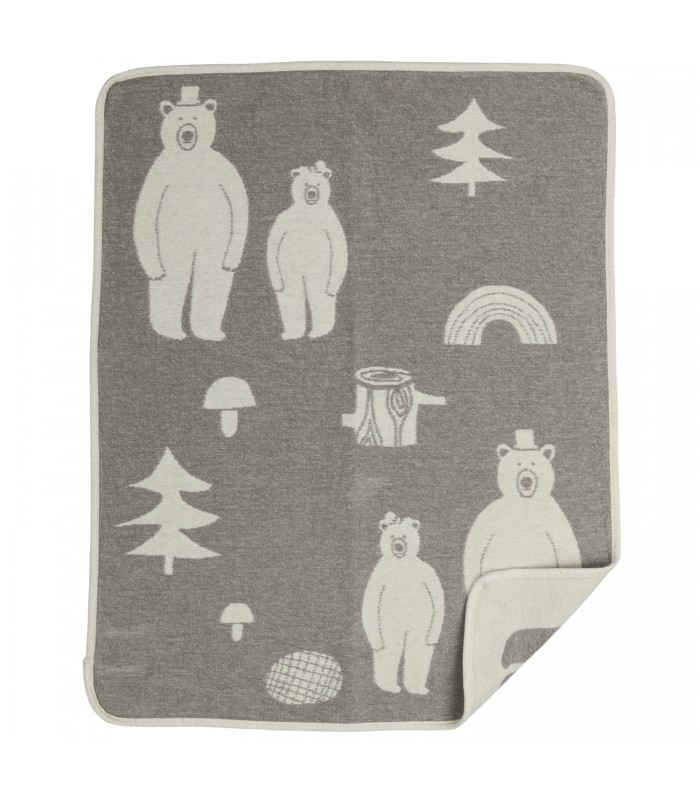 cotton baby blanket gifts for children grey woodland illustration