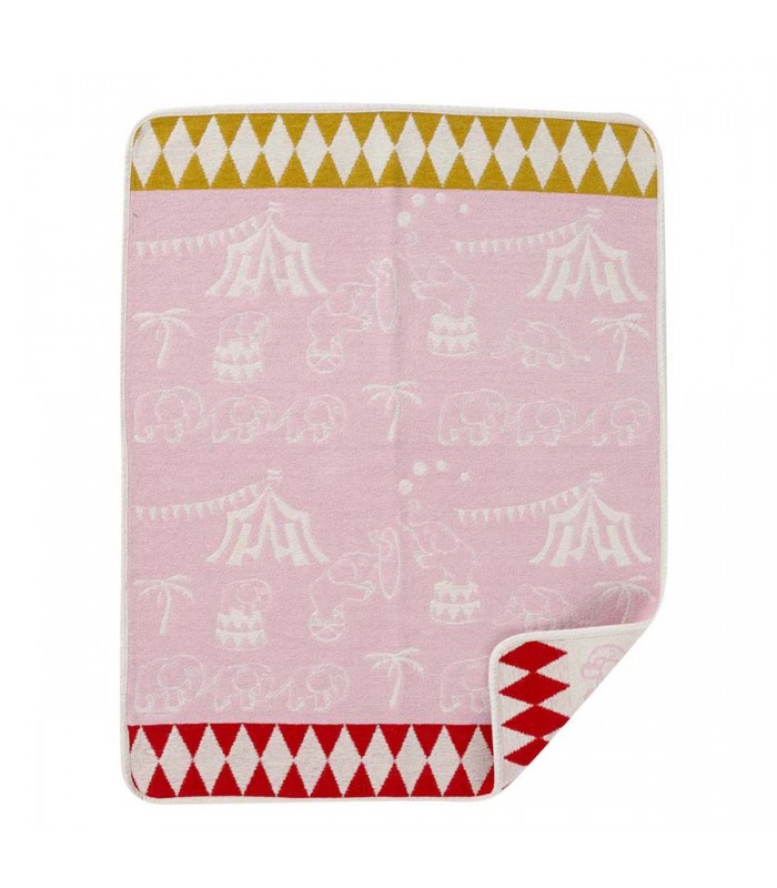 Pink elephant circus baby blanket gifts for girls