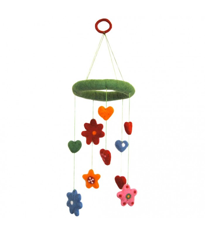Felt Baby Mobile Hearts and Flowers Nursery Decoration
