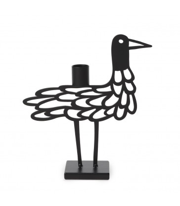 black shorebird metal candlestick holder