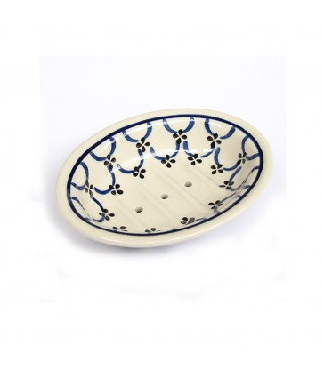 blue and white ceramic soap dish hand glazed with small flower pattern