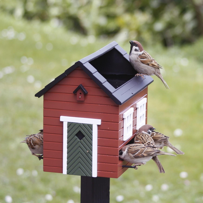 Red Bird Feeder House With Rooftop Bird Bath The Blue Door