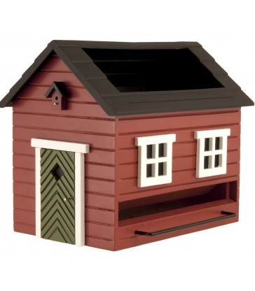 Red Bird Feeder House with rooftop Bird Bath