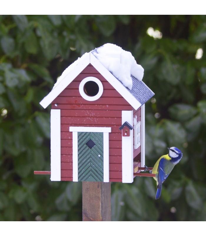 Red Cottage Bird Feeder & Nesting Box