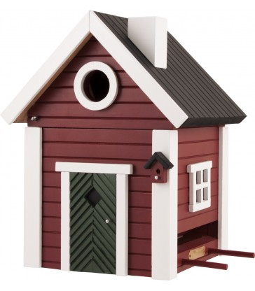 Red Cottage Bird Feeder & Nesting Box