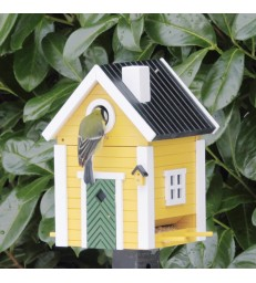 Yellow Cottage Bird Feeder and Nesting Box
