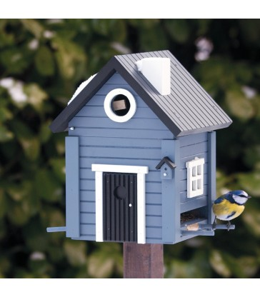 Solid Blue Cottage Bird Feeder & Nesting Box