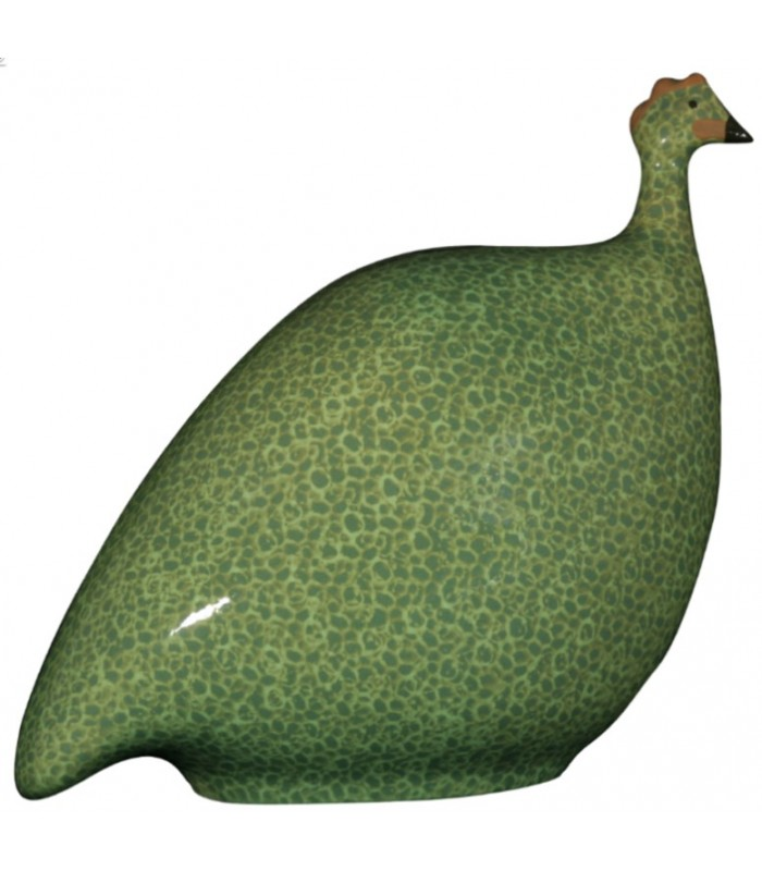 Green and Yellow Ceramic Guinea Fowl