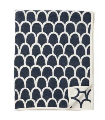 stylised feathers pattern smoky blue cotton chenile throw