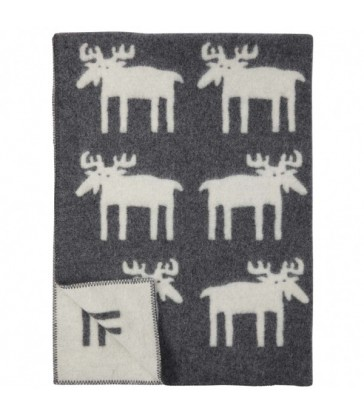 Moose blanket grey wool blanket