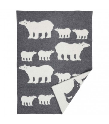 Polar Bear grey woollen blanket