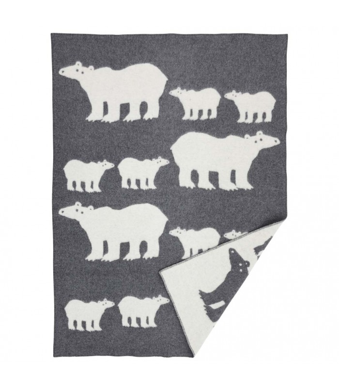 Polar Bear grey woollen blanket