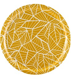 Yellow Geometric Pattern Birch Tray