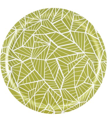 Green geometric pattern birch tray