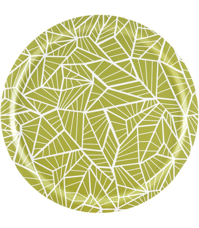 Green geometric pattern birch tray