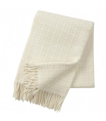 classic natural white subtle waffle pattern wool throw