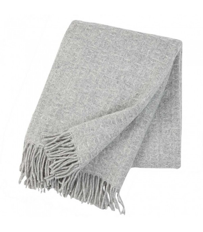 warm grey wool throw. waffle pattern classic colour scheme