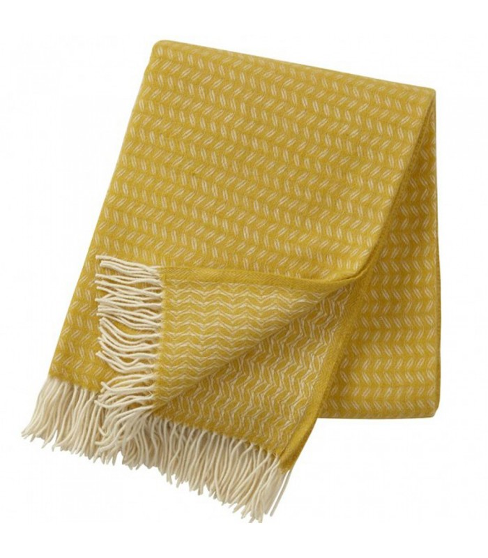 Yellow leaf luxury merino and wool throw