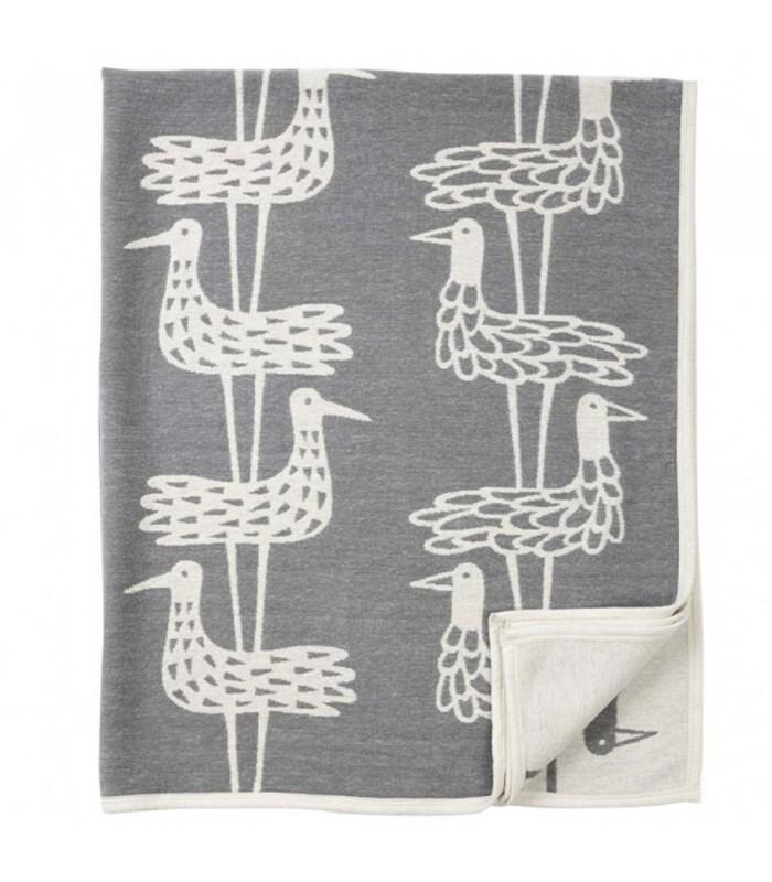Grey Graphic Bird Cotton Blanket