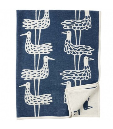 Blue Graphic Bird Cotton chenille  Blanket