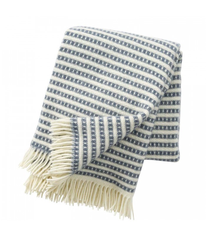 Smokey Blue Wool Throw Blanket