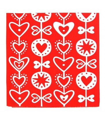 heart design paper napkins red and white colour