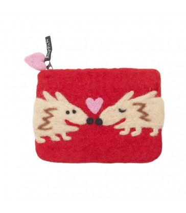 Hedgehog Red  Felted Purse