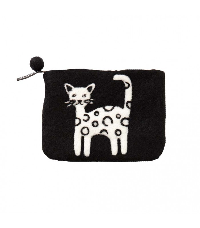 Cat zipped coin Felted Purse