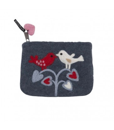 Love Birds Felt Purse zip coin purse