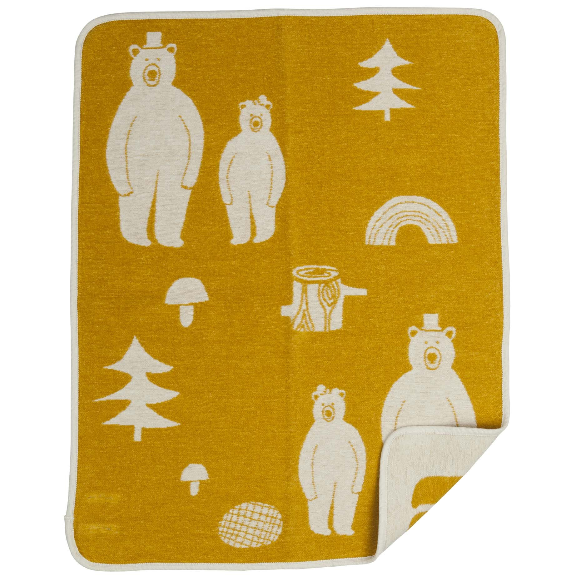 woodland friends baby blanket  greyyellow  the blue door -  practical gifts for new babies yellow woodland cotton blanket