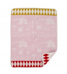 Pink Elephant Circus Chenille Baby Blanket