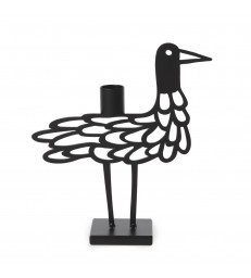 Black Shorebird Candlestick Holder