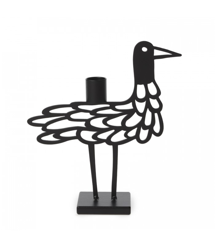 black shorebird metal candlestick holder