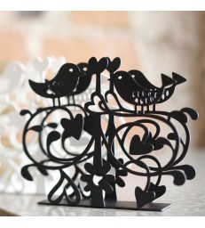 Lovebirds Paper Napkin Holder - Black
