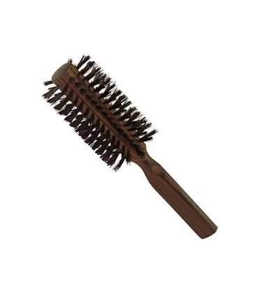 Round timber hairbrush for blow drying