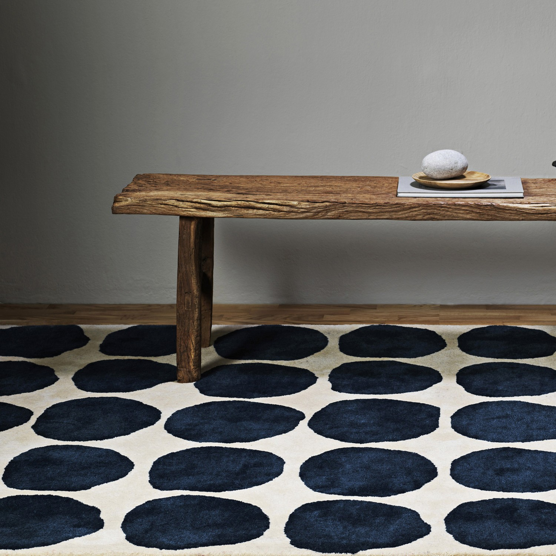 Blue Dots Wool Floor Rug The Door