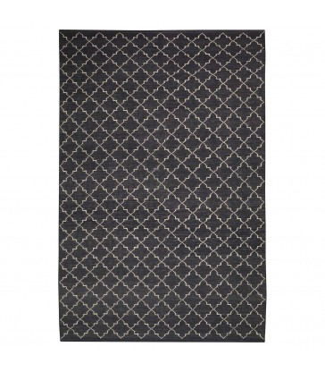 Dark Grey Geometric Style Floor Rug