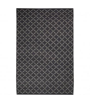 Dark Grey Geometric Style Floor Rug
