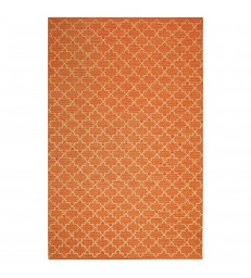 Geometric Orange and White Floor Rug