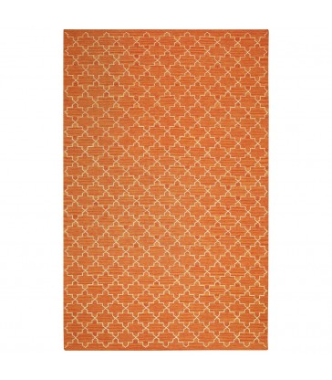 orange and white modern style wool floor rug large scale
