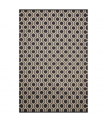 Dark grey and white varanasi floor rug wool