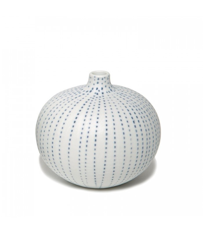 Small Ceramic Bud Vase with Blue Dots