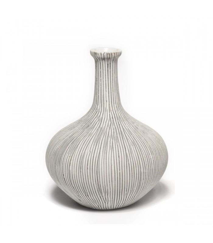 Large Grey Ceramic Bottle Neck Vase