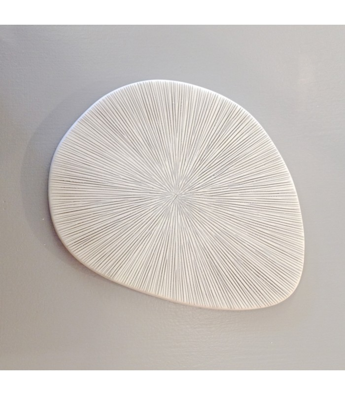 Decorative Ceramic Plate Grey And White Lines The Blue
