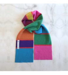 Bright Primary Colour Striped Wool Scarf
