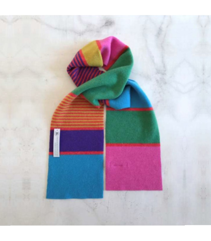 bright colourful wool scarf spectrum of colours primary colour wool scarf