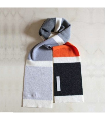 Grey and Orange Wool Striped Scarf