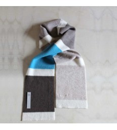 Striped Wool Scarf Grey and Blue